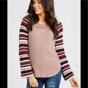 Thermal Striped Sleeves Sweater